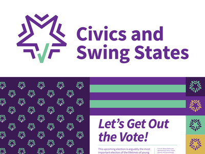 Civics and Swing States pattern election vote star typography logo