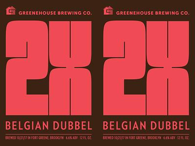 2X Belgian Dubbel typography packaging label beer
