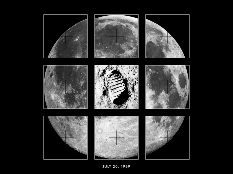 7/20/69 collage footprint apollo 11 space moon