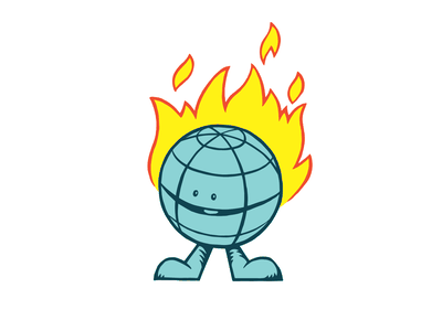 What's cookin'? fire climate change earth character illustration