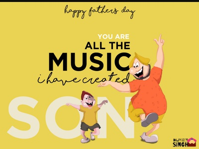Happy Father's Day-2 son father father and son fathers day love illustration flat design cute creative artwork