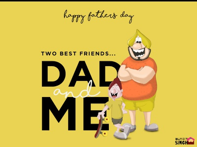 Happy Father's Day-3 son father father and son fathers day love illustration flat design cute creative artwork