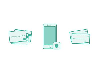 Round-up Illustrations vector illustration iphone checks app acorns credit cards