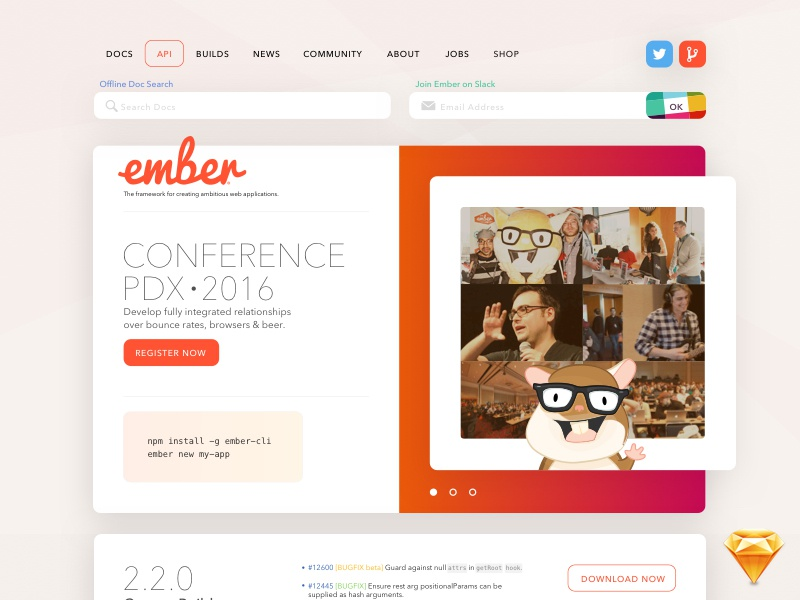 The Ember.js site that almost was. open source community about docs lander web website freebie free sketch ember