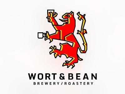 Wort & Bean Logo awesomeness lion branding beer coffee logo