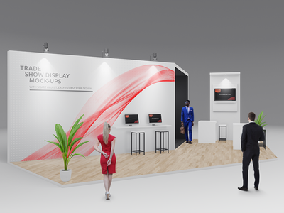Trade Show Booth / Displays Mock-Ups Vol.3 podium performance logo exhibition mock-up banner wall display media wall expo booth exhibition stands stand trade show booth mockup