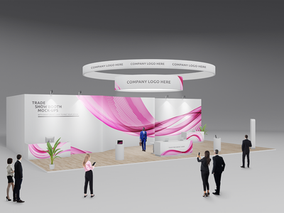 Trade Show Booth / Displays Mock-Ups Vol.4 logo performance platform screens banner event stand meeting room wall presentation mockup trade show booth expo display service modular exhibition stands