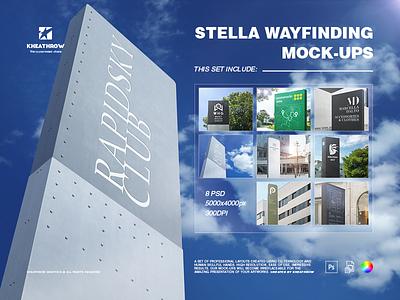 STELLA WAYFINDING MOCK-UPS screen sign board signpost presentation outdoor signage logo mock up exterior information design environmental graphics logo stella