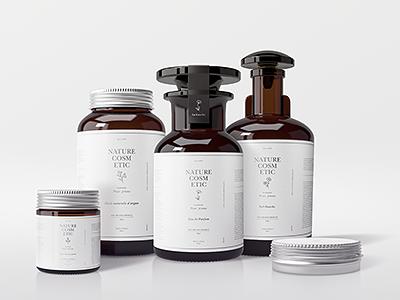 Natural Cosmetic Packaging Mock-Ups branding showcase cosmetic bottles cream mock up perfume jars bottle dark glass aluminum mockups cosmetic