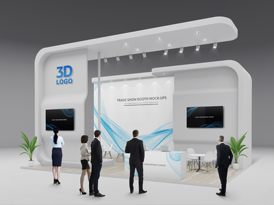 Trade Show Booth / Displays Mock-Ups Vol.2 advertising banner display popup display backdrop stand square tower tower pillar event stand exposition wall presentation trade show booth exhibition mock-up modular exhibition stands expo display service