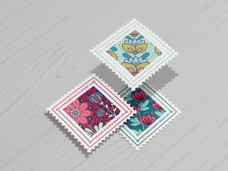 Postage Stamps Mock-Ups Vol.2 showcase dimension photorealistic correspondence stationery post office cardboard box envelope postcard postal stamp postage stamps square stamp