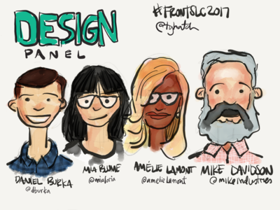 Sketchnotes from FrontSLC2017 Design Panel sketchnotes illustration