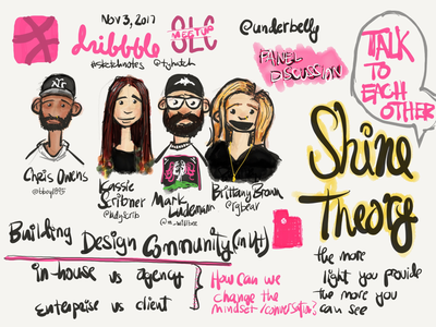 Sketchnotes from Dribbble SLC meetup on Nov 3. sketchnotes