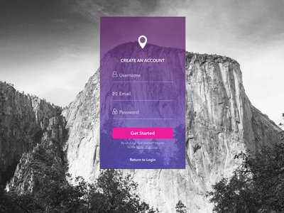 Mobile Sign Up appdesign hiking ux ui signup