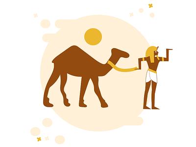 Walk like an Egyptian camel character egyptian ancient egypt pharaoh illustration