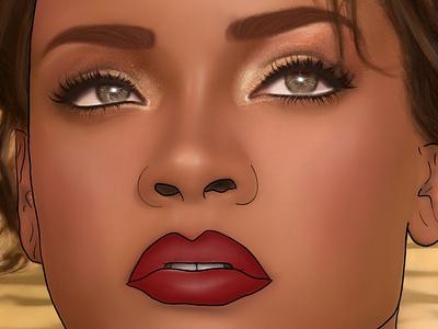 Rihanna artistic illustrator portrait illustration female portrait design illustration painting drawing graphic design artist art rihanna