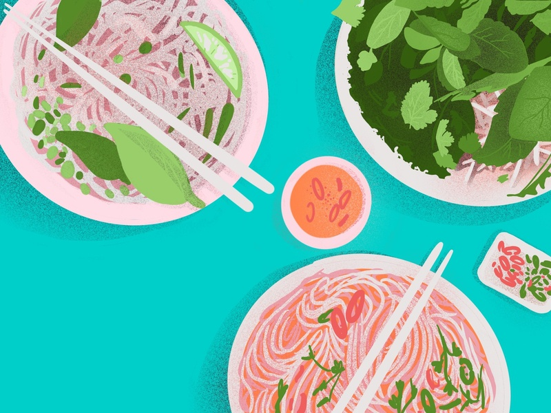 Pho Dinner asia travel green adventure street food chile herbs table top food illustration procreate overhead flavor spice spicy vietnamese vietnam illustration food pho