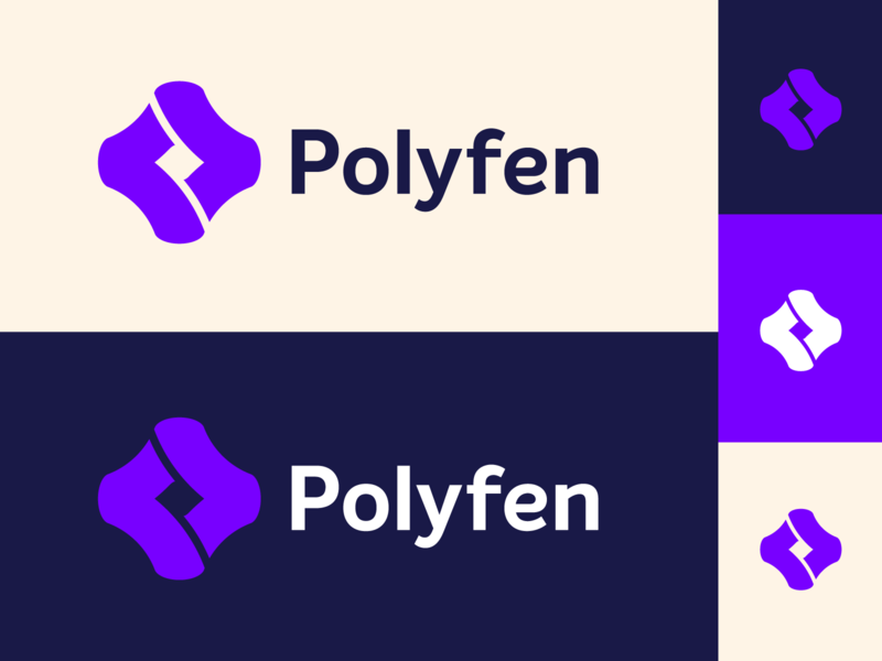 Polyfen — Logo variations colorful typography creative brand negative space negative variations system emblem animation branding ideogram design abstract minimalism minimalist geometric clean logo geometry