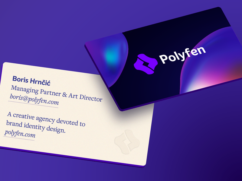 Polyfen — Business cards agency visiting presentation stock card stationary business typography creative brand embossed branding ideogram design abstract minimalism minimalist geometric clean logo
