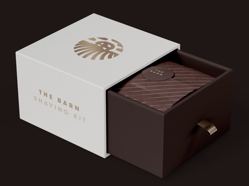The Barn — Package Design kit shaving packaging package box grooming barn illustration brand design branding geometric creative minimalist logo clean