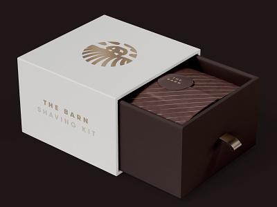 The Barn — Package Design kit shaving packaging package box grooming barn illustration brand design branding geometric creative minimalist logo clean