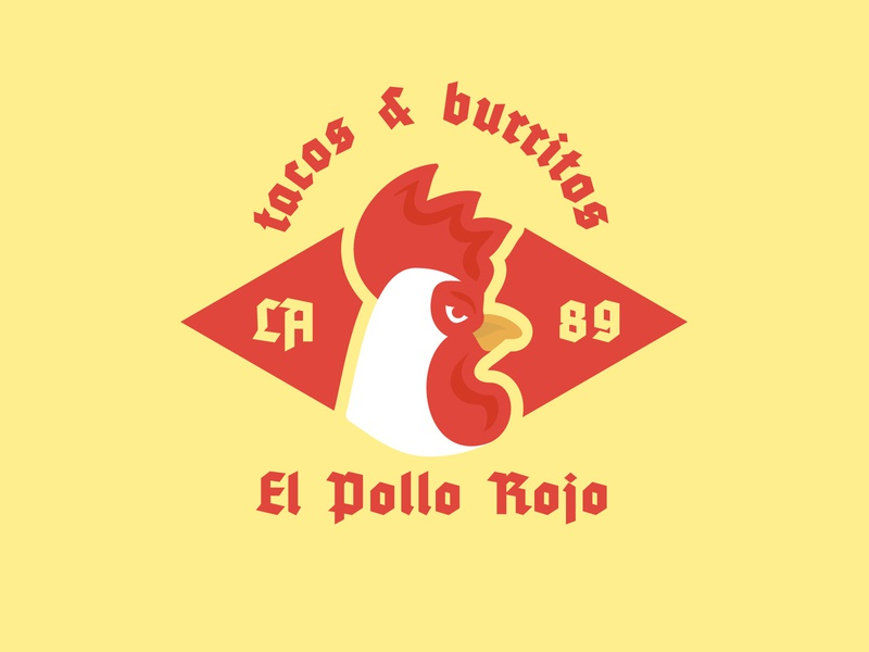 El Pollo Rojo — Pictorial Logo animal burritos tacos spicy emblem rooster mexican food illustration space negative design brand branding geometric creative minimalist logo clean