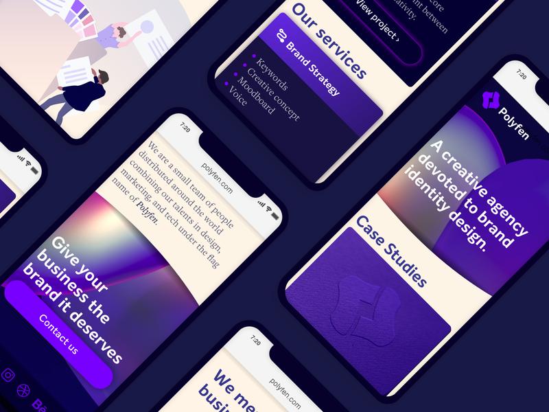 Polyfen — Mobile web app studio layout web mobile illustration agency ux ui typography brand design branding minimalist creative clean