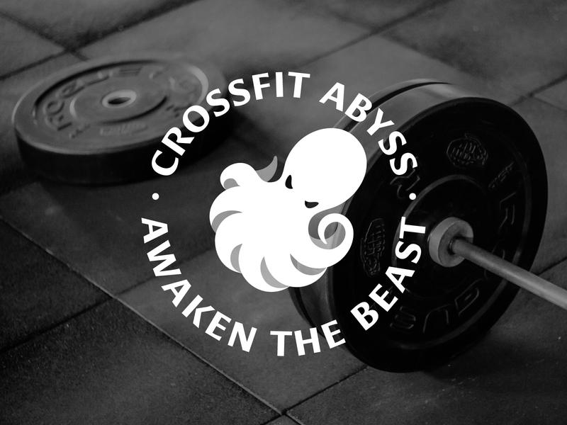 CrossFit Abyss — Emblem Logo excercise crossfit gym minimalism emblem type space negative illustration typography brand design branding clean minimalist creative logo geometric animal octopus