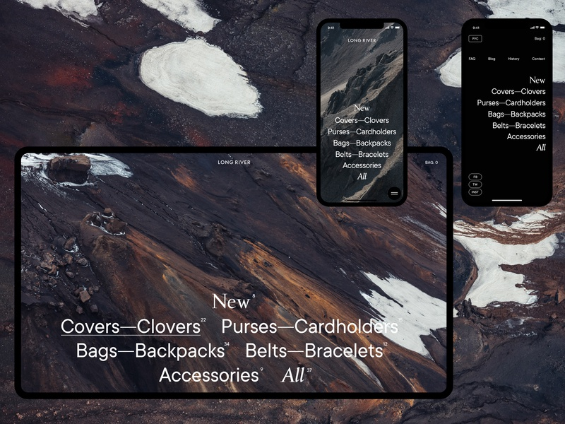 Long River store shop elegant iphonex site minimalism desktop grid e-commerce pure web ui ux minimal
