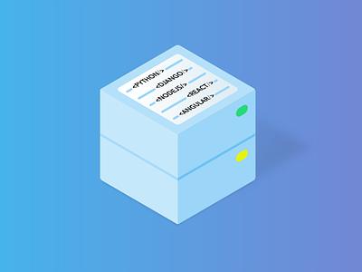 Web Development Service — Isometric Illustrations Serie service web development affinity designer blue vector illustration isometric