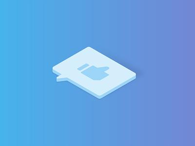 Social Media Service — Isometric Illustrations Serie service social media affinity designer blue vector illustration isometric