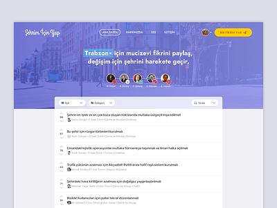 Home Page — Şehrim İçin Yap navigation downvote upvote vote avatar dropdown list header