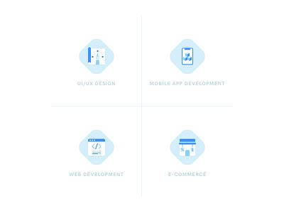 Icons for Service Overview design agency service phone brush shop e-commerce development web app mobile ui-ux design