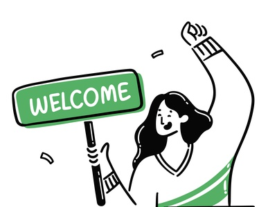 Welcome to Brutask happy green dailytask ui illustration welcome creativity dual colour scheme line illustration work girl welcome email emailer todolist todo productivity design illustration