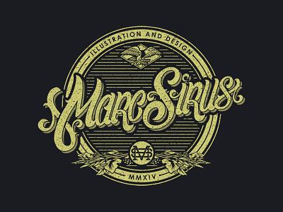 Marc Sirus logo lettering design illustration gold