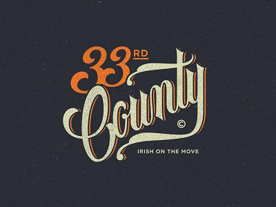 33rd County county irish script lettering streetwear tshirt logo