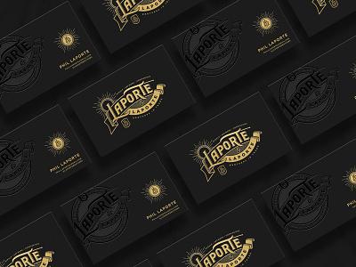 Laporte & Laporte Cards goldfoil crest identity logotype lettering branding