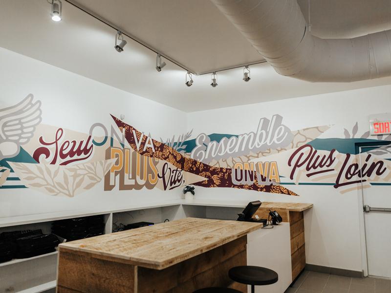 Lululemon Montreal mile end hand lettering pop art typography montreal lululemon running floral mural lettering