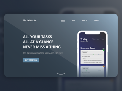 Concept Task Manager App and Landing Page manager task ui page landing hero