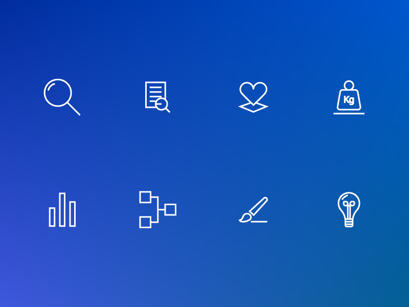 Icon set for Social Influencer website lightbulb chart glass magnifying heart icons illustration ux ui vector icon