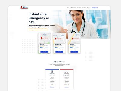iCare website redesign website design landing landing page illustration design ux ui