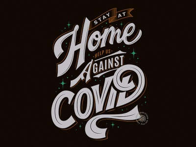 Stay At Home typography flat design quote brush calligraphy script custom type vector calligraphy hand lettering lettering
