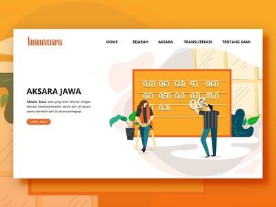 Hanacara Landing Page illustration website flat design ui design flat landing page character