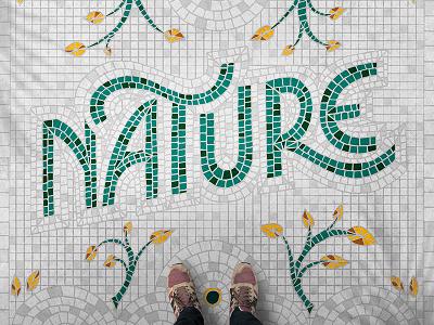 Nature Fauxsaics flat design heritage vector graphic  design hand lettering fauxsaics lettering
