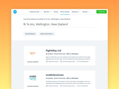 Find an advisor find bookkeepers accountants cards search results xero search