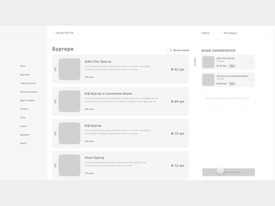 Food dashboard order process interaction