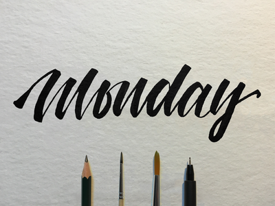 Hand lettering brush script monday by kevin grahl dribbble