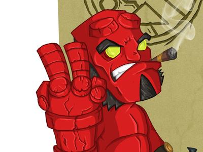 Hellboy hellboy meejit meejitz chibi illustration