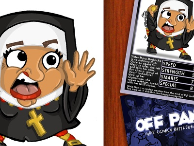 Off Panel Card Game - Ninja Nun illustration chibi ninja nun off panel card game top trumps nich angell