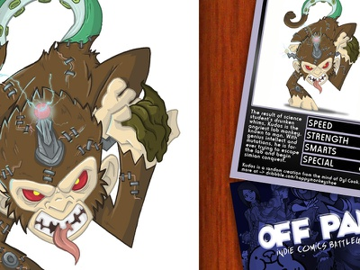 Kudos the Lab Monkey kudos lab monkey off panel illustration trading cards nich angell